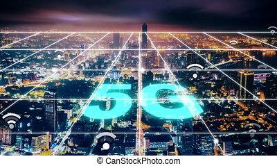 concepts, réseau, fond, 5g, connexion, ville