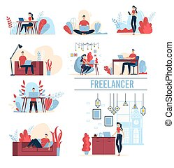 concepts, vecteur, freelancers, fonctionnement, plat, ensemble
