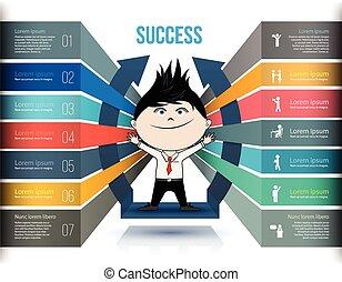 concepts, vecteur, icones affaires