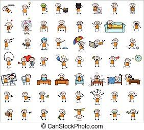 concepts, vecteur, illustrations, -, ensemble, voleur