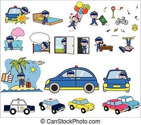 concepts, vecteur, illustrations, flic, -, caractère, ensemble, policier, dessin animé