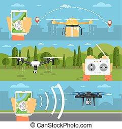 concepts, voler, technologie, robots, bourdon