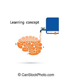 concept.thinking, kennis, proces, hersenen, symbool, schoolboek, hersenen, vullen, leren, snel, concept., pictogram