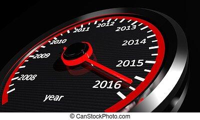 conceptual, 2016, año, velocímetro