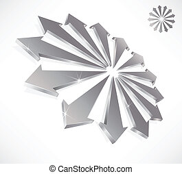 Conceptual 3D arrows symbolic of teamwork and unity