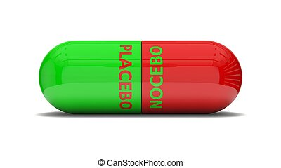 conceptual 3d design of false pill.( placebo and nocebo...