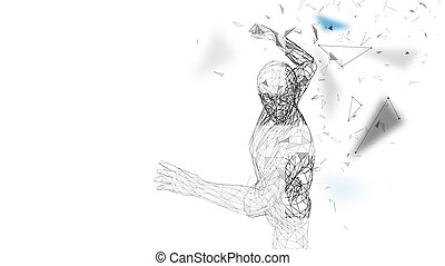 Conceptual abstract man is doing powerful punch. Connected lines, dots, triangles, particles. Artificial intelligence concept. High technology vector, digital background. 3D render vector illustration
