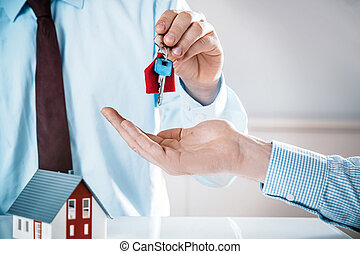 Conceptual Agent Giving House Key to a Buyer