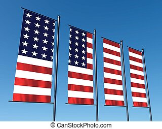 Conceptual American flag split into several flags on sky