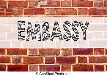 Conceptual announcement text caption inspiration showing Embassy. Business concept for Tourist Visa Application written on old brick background with copy space