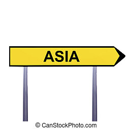 Conceptual arrow sign isolated on white - ASIA
