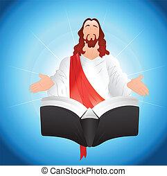 Conceptual Art Design of Jesus Christ with Book Vector Illustration