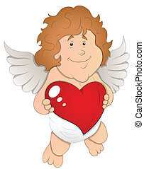 Adorable Cupid with Heart Vector