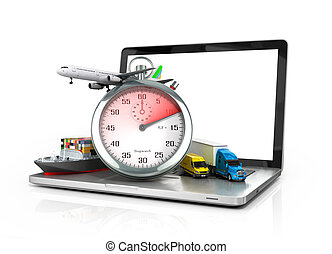 conceptual background of fast timely internet delivery 3d illustration