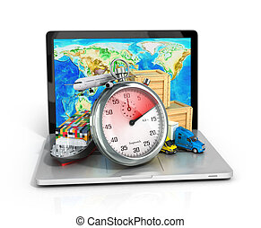 conceptual background of fast timely internet delivery with a laptop 3d illustration