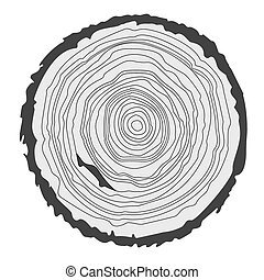 Conceptual background with tree-rings. Vector graphics.