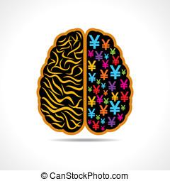 Conceptual brain with euro symbol