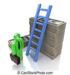 Conceptual business illustration with success ladder