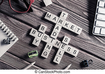 Conceptual business keywords on table with elements of game maki