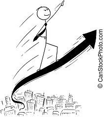 conceptual, caricatura, de, hombre de negocios, paseo, en,...