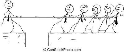 Conceptual Cartoon of Business Man Individuality Contribution.