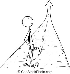 Conceptual Cartoon of Business Man on the Road to Success