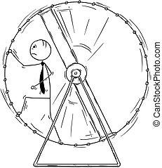 Conceptual Cartoon of Business Man running in Squirrel Wheel...