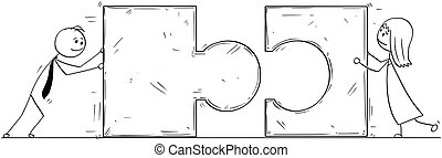 Conceptual Cartoon of Business Puzzle Partnership or Teamwork