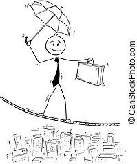 Conceptual Cartoon of Businessman Balancing on Rope