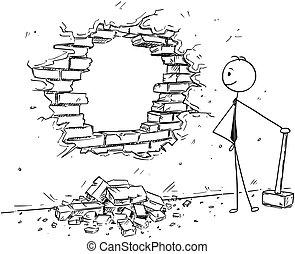 Conceptual Cartoon of Businessman Breaking a Wall