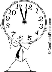 Conceptual Cartoon of Businessman Carry Large Clock