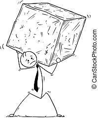 Conceptual Cartoon of Businessman Carrying Big Block of Rock or Stone