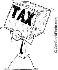 Conceptual Cartoon of Businessman Carrying Big Tax Block of Rock or Stone