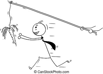 Conceptual Cartoon of Businessman Chasing after Illusion