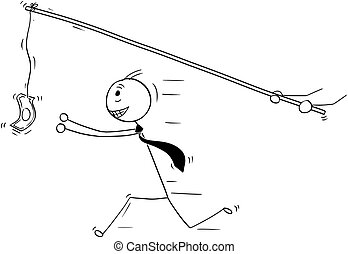 Conceptual Cartoon of Businessman Chasing after Money