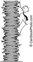 Conceptual Cartoon of Businessman Climbing Coin Pile