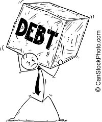 Conceptual Cartoon of Businessman Carrying Big Debt Block of...