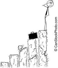 Conceptual Cartoon of Businessman Facing Bankrupt and Crisis