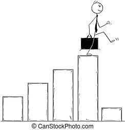 Conceptual Cartoon of Businessman Facing Crisis