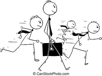 Conceptual Cartoon of Businessman Individuality Standing Out of Crowd