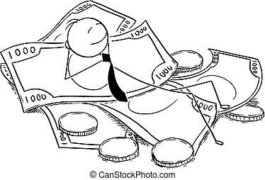 Conceptual Cartoon of Businessman Lying on Pile of Money