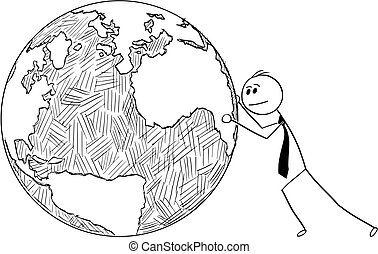 Conceptual Cartoon of Businessman Pushing World Globe