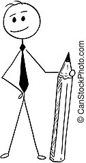 Conceptual Cartoon of Businessman Standing with Pencil -...