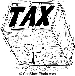 Conceptual Cartoon of Businessman Supporting Big Block of Rock or Stone