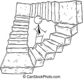 Conceptual Cartoon of Businessman Walking Up Endless Stairs