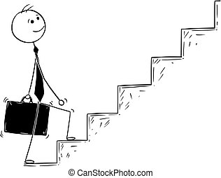 Conceptual Cartoon of Businessman Walking Up Stairs