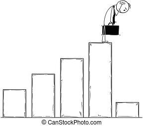 Conceptual Cartoon of Businessman Watching Low Profit Chart