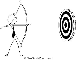 Conceptual Cartoon of Businessman with Bow Shooting at Target