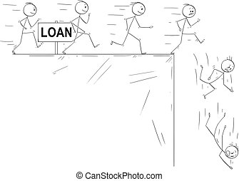 Conceptual Cartoon of People Taking a Loan and Disillusion...