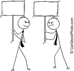 Conceptual Cartoon of Two Arguing Businessmen With Empty Signs